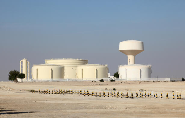 Oil storage tanks in Bahrain, Middle East