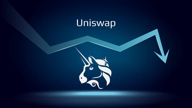 Uniswap UNI in downtrend and price falls down. Crypto coin symbol and down arrow. Uniswap crushed and fell down. Cryptocurrency trading crisis and crash. Vector illustration.