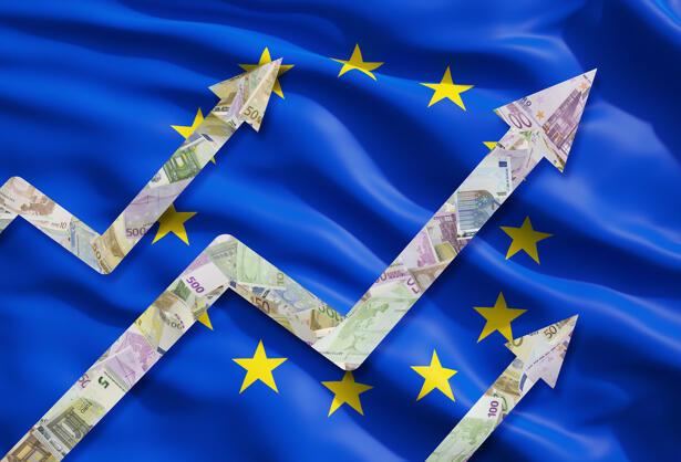 Growing Euro notes arrows over the flag of European Union.
