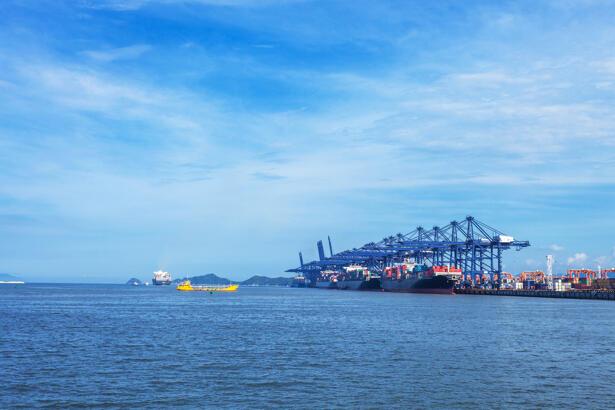sky,sea and cargo dock