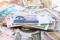 different world banknotes background
