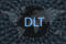 distributed ledger technology DLT inscription on a dark background and a world map.