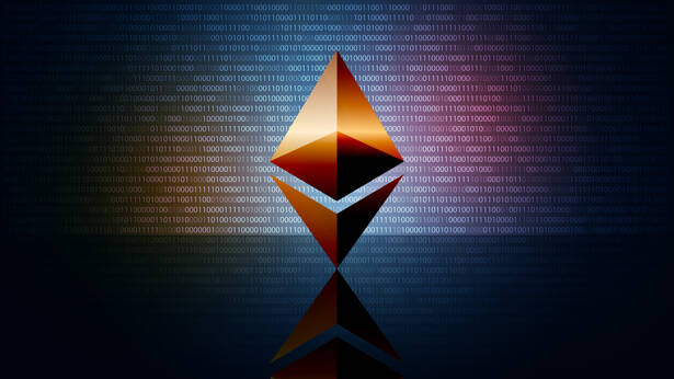 Ethereum ETH cryptocurrency token symbol, coin icon on dark digi