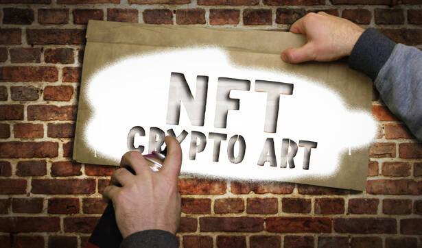 NFT Crypto Art spray painted inscription on the brick wall