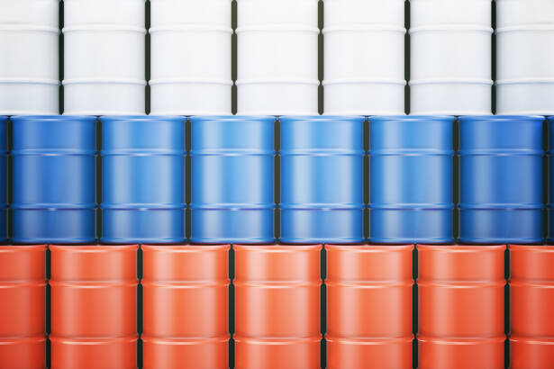 Oil barrels with Russian flag