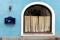 closed inn blue facade