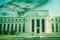 Federal Reserve building with twenty dollar bill on grunge texture