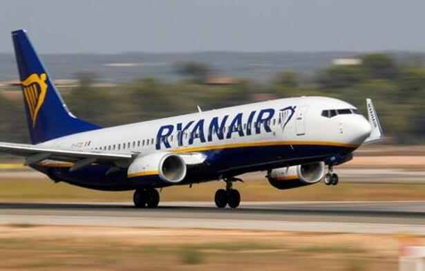 A Ryanair Boeing 737 airplane takes off from