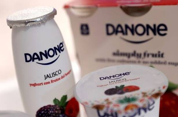 Company logos are seen on products displayed before