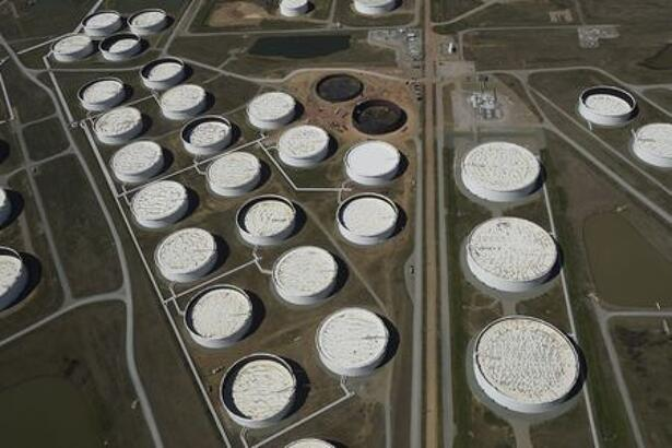 Crude oil storage tanks are seen from above