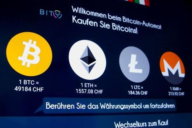 The exchange rates and logos of Bitcoin, Ether,