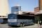 Buses are parked at the Greyhound bus station,
