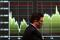 Screen displays recent Nikkei share average movements outside a brokerage