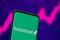 Robinhood logo is seen on a smartphone in