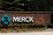 The Merck logo is seen at a gate