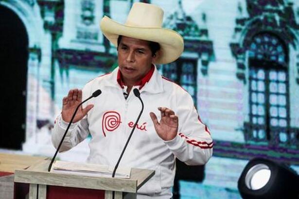 Peru's socialist candidate Pedro Castillo gestures during a