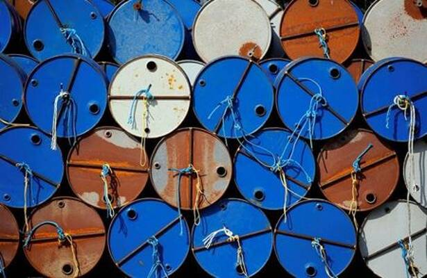 Oil barrels are pictured at the site of Canadian group Vermilion Energy in Parentis-en-Born