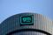 Logo of GM atop the company headquarters