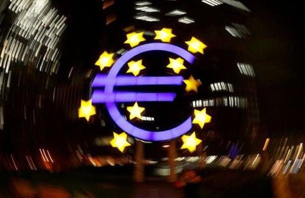 The euro sign is photographed in front of