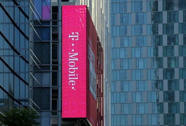 T-Mobile logo is advertised on building sign in Los Angeles