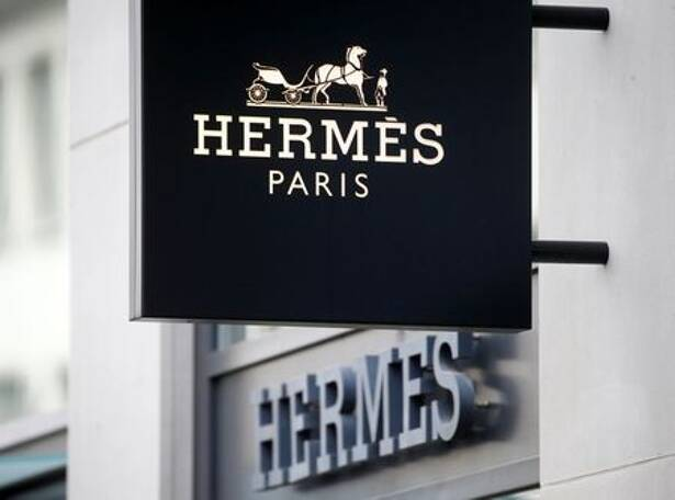 The logo of French luxury group Hermes is seen in