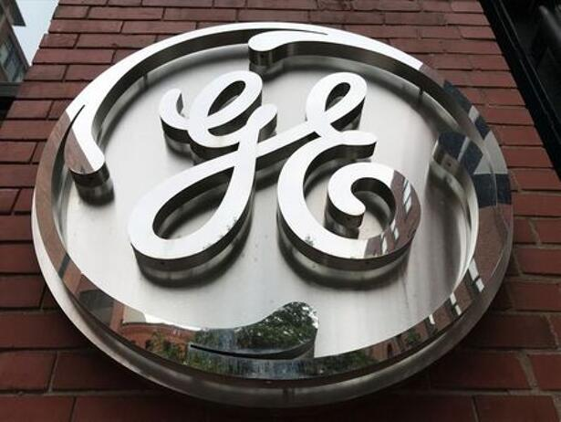 The General Electric Co. logo is seen on the company's