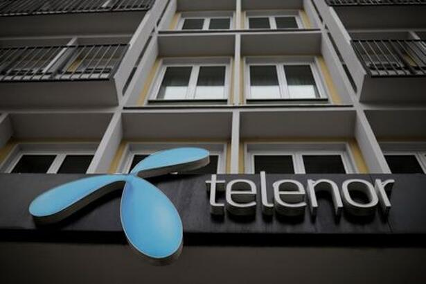 Telenor's logo is seen in central Belgrade
