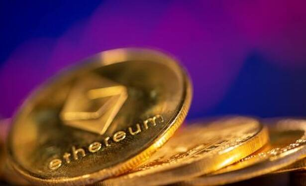 A representation of virtual currency Ethereum are seen in front