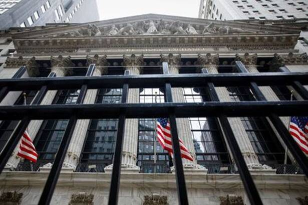 The front facade of the NYSE is seen in New