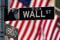 A Wall Street sign is pictured outside the New York