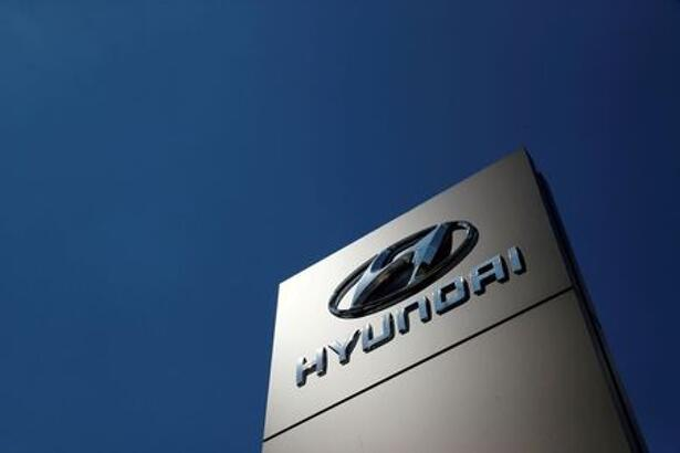 A shop sign of Hyundai is seen outside
