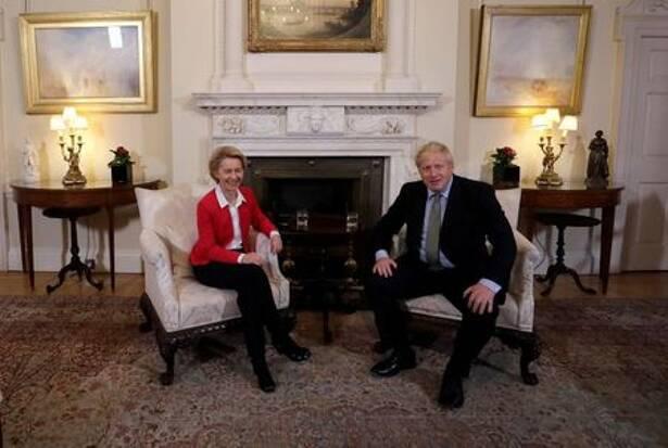 Britain's Prime Minister Boris Johnson meets with European Commission President Ursula von der Leyen inside 10 Downing Street in London