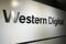 The logo of Western Digital Corporation is displayed at the company's headquarters in Tokyo