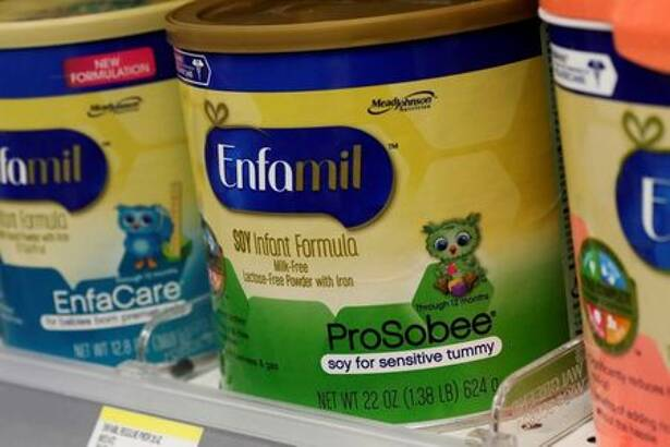 Mead Johnson's product Enfamil baby formula are displayed