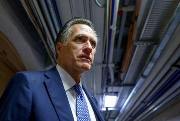 U.S. Senator Mitt Romney departs after bipartisan work group meeting