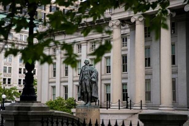 FILE PHOTO: A statue of former Sen. Albert Gallatin stands at the Treasury Department in Washington
