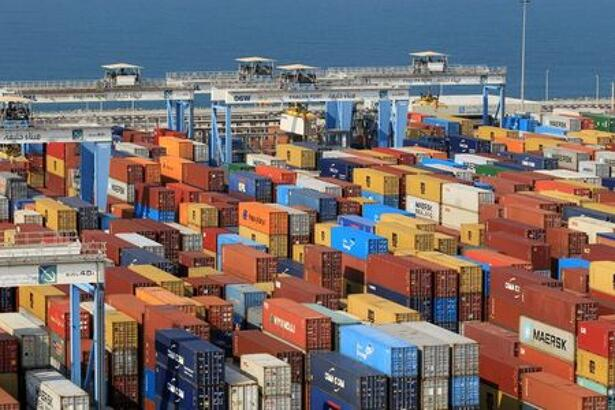 Containers are seen at Abu Dhabi's Khalifa Port