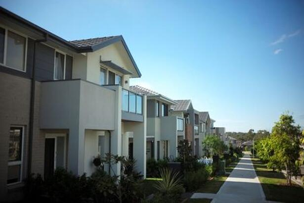 New homes line a street in the Sydney