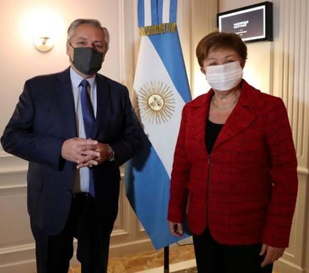 FILE PHOTO: Argentina's President Alberto Fernandez poses next to International Monetary Fund (IMF) Managing Director Kristalina Georgieva, at the Sofitel hotel in Rome