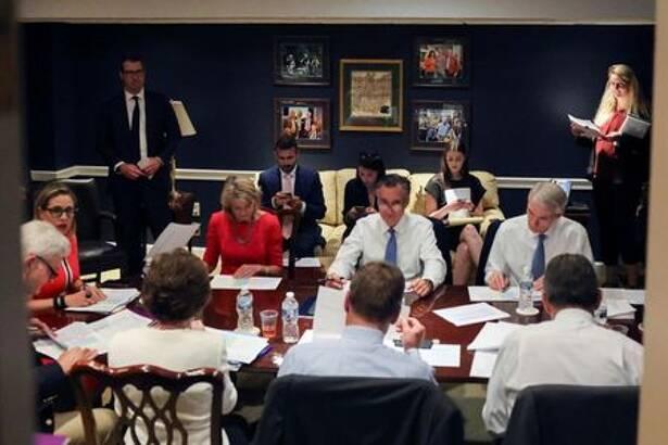 U.S. senators attend bipartisan work group meeting on infrastructure legislation