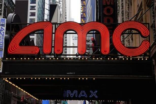 An AMC theatre is pictured in Times Square in New