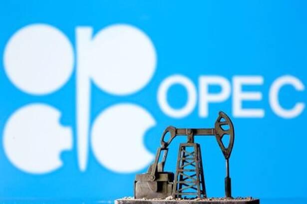 Ilustração com logo da Opep e bomba de petróleo