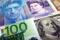 Notas de dólar, franco suíço, libra esterlina e euro