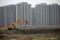 Construção de prédios residenciais em Xangai, China