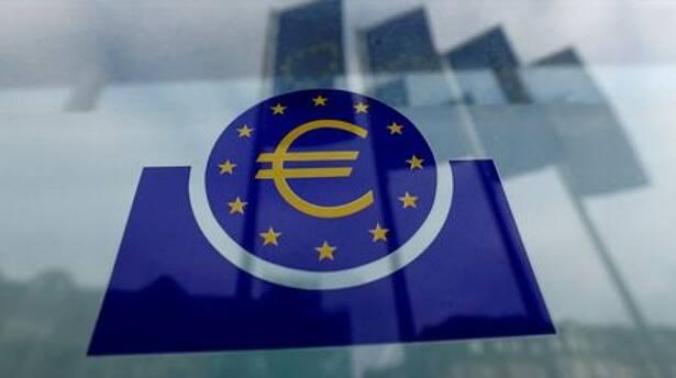 Logo do BCE em Frankfurt, Alemanha