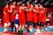 Russos comemoram vitória sobre o Brasil no vôlei masculino em