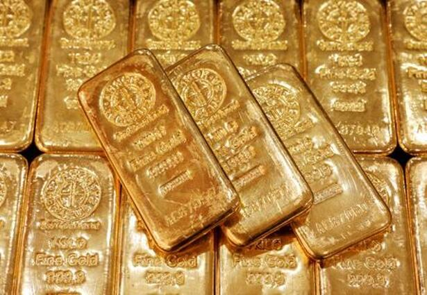 FILE PHOTO: Gold bullion is displayed at GoldSilver Central's office