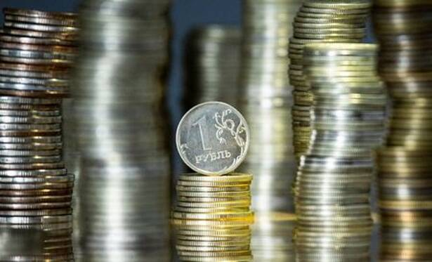A view shows Russian rouble coins in this illustration picture