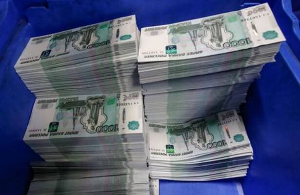Stacks of 1000 Russian Roubles notes are pictured at Goznak