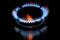 Flames from a gas burner on a cooker are pictured